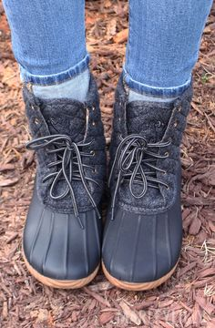 Black Quilted Monogrammed Duck Boots! Get your pair ASAP from Marleylilly: https://marleylilly.com/product/monogrammed-duck-boots/