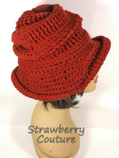 Crochet Floppy Hat Womens Crochet Hat Womens Hat Trendy Steampunk Hat Terra Cotta Hat VIRGINIA Wide Brim Hat Strawberry Couture by strawberrycouture by #strawberrycouture on #Etsy