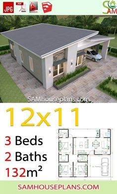 House Plans with 3 Bedrooms Shed roof – Sam House Plans House Plans with 3 Bedrooms Shed roof – Sam House Plans,Diseño casas pequeñas House Plans with 3 Bedrooms Shed roof. My House Plans, House Layout Plans, Simple House Plans, Simple House Design, House Layouts, House Floor Plans, Bungalow Haus Design, Modern Bungalow House, Bungalow House Plans