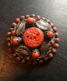 grande spilla antica fatta a mano, victorian brooch