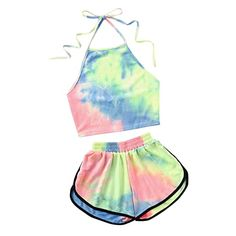 Halter Neck Water Color Crop Top With Ringer Shorts 2019 Summer Sleeveless Tie Dye Shorts Women Sets Multi Teenage Outfits, Cute Outfits For Kids, Cute Summer Outfits, Cute Casual Outfits, Outfits For Teens, Stylish Outfits, Summer Shorts, Cute Clothes For Girls, Tween Trendy Clothes