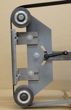 Adam Adams uploaded this image Metal Working Tools, Metal Tools, Cool Tools, Diy Tools, 2x72 Belt Grinder Plans, Diy Belt Sander, Knife Grinder, Knife Making Tools, Metal Bending