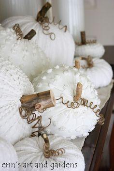 Vintage chenille blanket pumpkins. For more decor ideas go to: http://www.villa-candles.com/newblog1/