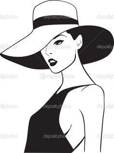 Красивая женщина в шляпе — стоковая иллюстрация #2935054