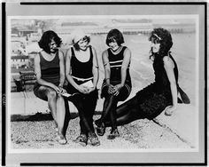 Bathing Beauties in their scandalous 1-piece swimsuits, 1922, Atlantic City. Library of Congress.