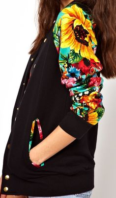 multicoloured flowers [Joyrich Floral Varsity Jacket] cute, but a better floral pattern would be better...