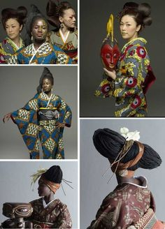 Afro Geisha A Tokyo based Kimono retailer Kururi and Serge Mouangue create traditional Japanese kimonos in African prints from Nigeria to Senegal. Geisha, Afro Chic, Mode Wax, Mode Kimono, Kimono Style, Traditional Japanese Kimono, Style Africain, African Fabric, African Textiles