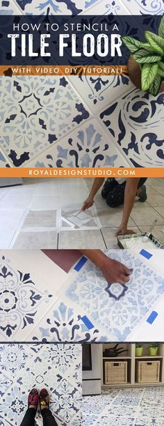 The Secret is Out! How to Stencil a Tile Floor in 10 Steps - Painting Over Kitchen Floor Tiles or Bathroom Floor Tiles with Royal Design Studio Floor Stencils