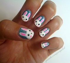 Bunny nails for Easter-I wouldn't do this at my age-but it is cute for younger girls/teens!   :-)