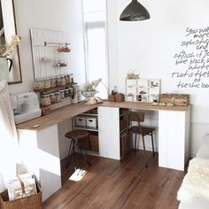 Diy Interior, Kitchen Interior, Room Interior, Small Home Offices, Home Office Space, Small Office Furniture, Coffee Shop Design, Studio Room, Minimalist Interior