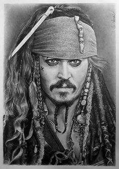 Johnny Depp (Captain Jack Sparrow) - Signed by Pencil Art Drawings, Realistic Drawings, Art Drawings Sketches, Jack Sparrow Drawing, Sparrow Art, Captain Jack Sparrow, Pencil Portrait, Portrait Art, Beautiful Pencil Sketches