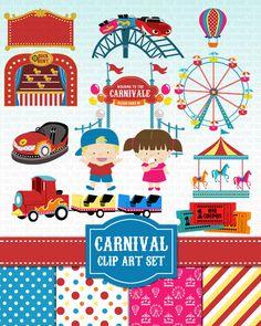 Carnival Clip Art Amusement Park Fair Clipart Set  by GraphicGears, $5.50