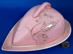 Pink Royal Winton Grimwades Georgia Heart Cheese Dish With Lid England