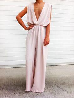 Pink jumpsuit.