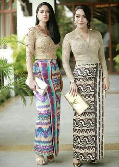 Enjoy the Beauty of Dresses and people from Myanmar. Traditional Dresses Designs, Traditional Outfits, Modern Filipiniana Gown, Batik Mode, Myanmar Dress Design, Myanmar Traditional Dress, Batik Fashion, Africa Dress, Thai Dress