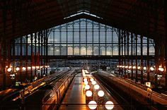 The Gare du Nord train station in Paris. From Flavorwire's round-up of beautiful train stations around the world. By Train, Train Tracks, Paris France, Paris Map, The Places Youll Go, Places Ive Been, Canal Saint Martin, Trains, Europe Train