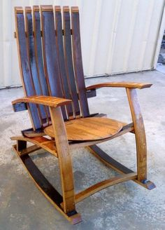 Wine Barrel Rocking Chair by LivengoodWood on Etsy Rustic Wood Furniture, Repurposed Furniture, Pallet Furniture, Outdoor Furniture, Wine Barrel Bar Stools, Wine Barrels, Bourbon Barrel Furniture, Barris, Barrel Projects