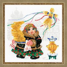 Набор для вышивания 1518 Масленица.Блины от РИОЛИС  Cross stitch kit 1518 Pancake Seller by RIOLIS