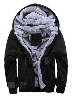 30299052384 Men s Parka Thickening Plus Velvet Warm Hooded Cotton Clothing Large Size -   21.42 Free Shipping. Sweater JacketCashmere ...