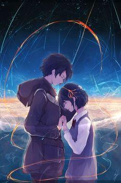 Kimi no Na wa (Your Name) Main Theme (Sparkle) - 君の名は/Radwimps Lyrics スパークル Fanart Manga, Manga Art, Manga Anime, Anime Pokemon, Kawaii Anime, Manga Love, Anime Love, Images Kawaii, Anime Quotes Tumblr
