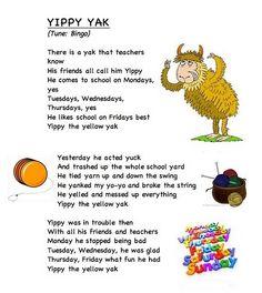 Alphabet letter song Y (words from Frog Street Press)... link... https://docs.google.com/leaf?id=0B8JEqYoVwlm2MjZiYzhkMjgtODFlYi00MDg2LWE0MWQtNDFiYzdjYzNlNzU2&hl;=en_US