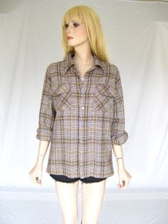 Vintage 70s  Plaid  Boyfriend Flannel Shirt by TimeBombVintage, $24.00