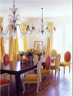 2 chandeliers over large table