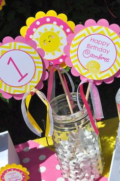 Fun centerpiece at a pink lemonade and sunshine birthday party! See more party ideas at CatchMyParty.com!