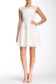 Betsey Johnson Cap Sleeve Lace Fit & Flare Dress
