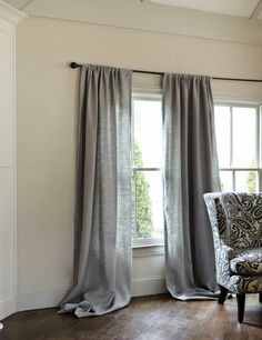 rideau en lin, longue draperie en gris lin