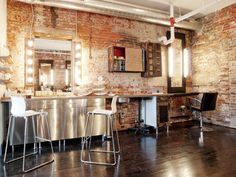 Image result for industrial hair and makeup room