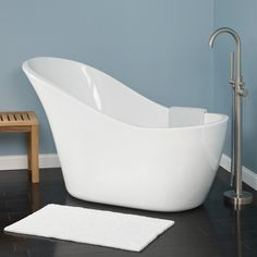 """$1,450 60"""" Dimensions: 60"""" L x 28"""" W (front to back) x 36"""" H (± 1/2""""). Water capacity without/with overflow: 43/37 gallons.  Medlin Acrylic Slipper Tub - Bathtubs - Bathroom"""
