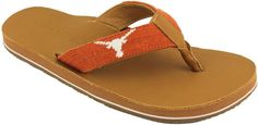 University of Texas Needle Point Flip Flops in Tan Leather by Smathers & Branson
