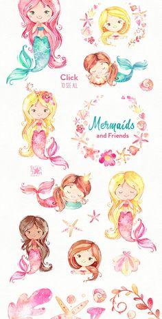 Mermaids & Friends. Underwater world by StarJam on @creativemarket