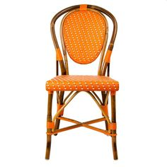 Orange & White Mediterranean Bistro Chair | Our most popular chair! These armless rattan-framed dining chairs are part of the iconic French bistros of Le Midi, or the south of France. Hand-woven and artisan crafted, these French style bistro chairs in bright synthetic material, will add a pop of color to your outdoor or indoor space.