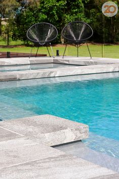The square edge of the rebated coping tiles add a major dose of luxury and contemporary flair. We can profile any natural stone or porcelain tile into a range of finishes, call us today! This gorgeous pool area leaves a stunning visual effect and will be enjoyed for decades to come #3dstone #poolcoping #rebate #profiling #squareedge #dropown #pooldesign