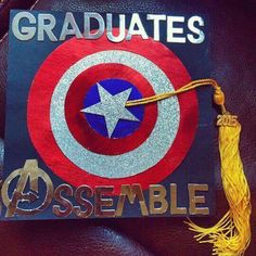 """Avengers """"Graduates Assemble"""" grad cap - Decoration For Home Disney Graduation Cap, Funny Graduation Caps, 8th Grade Graduation, Graduation Theme, Graduation Cap Designs, Graduation Cap Decoration, Preschool Graduation, College Graduation, Graduation Ideas"""