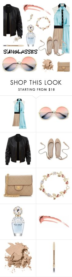 """retro sunglasses"" by heloisacintrao ❤ liked on Polyvore featuring FAUSTO PUGLISI, ZeroUV, LE3NO, Chanel, Tiffany & Co., Marc Jacobs, Bobbi Brown Cosmetics, Lancôme and vintage"