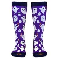 Girls Lacrosse Sublimated Mid Calf Socks Ghosts with Lacrosse Sticks. Fun Halloween Socks for Lax Girls! LuLaLax.com