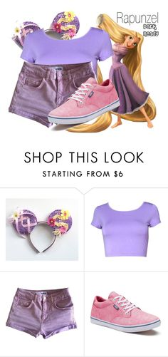 """Rapunzel~ DisneyBound"" by basic-disney ❤ liked on Polyvore featuring Topshop and Vans"