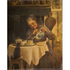 Old Woman Pouring Tea, Artist unknown, oil painting c1800-1899