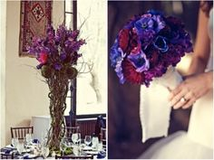 purple violet centerpieces curly willow ovando floral design new york city