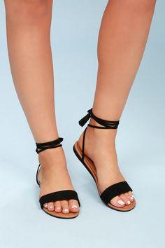b0856190b2 Lulus | Leyla Black Suede Flat Lace-Up Sandal Heels | Size 10 | Vegan  Friendly
