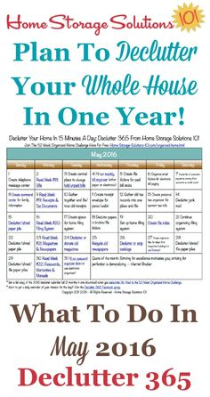 Free printable May 2016 decluttering calendar with daily 15 minute missions. Follow the entire Declutter 365 plan provided by Home Storage Solutions 101 to declutter your whole house in a year.