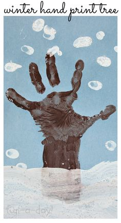 Winter Hand Print Tree with Snowy Fingerprints from www.fun-a-day.com