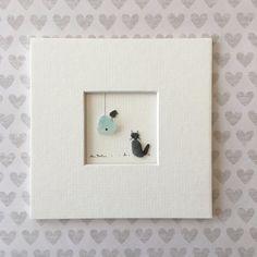 5 x 5 Mini ungerahmt Kiesel Kunst Bild von Sharon Nowlan, mattiert Meer Glas und Stein Kunst