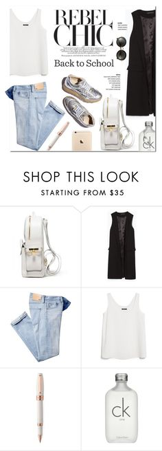 """""""Back to School"""" by stellaasteria ❤ liked on Polyvore featuring BUSCEMI, Zara, AG Adriano Goldschmied, MANGO, STELLA McCARTNEY, Montegrappa, Calvin Klein and Miu Miu"""