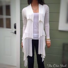 Renee C. Open Front White Sweater Waterfall front. Soft and feminine. Long and lovely. Shorter in back. Like new. The Chic Shed; A Current and Classic Fashion Curation.  10% OFF BUNDLES I ❤️ THE OFFER BUTTON ❌NO PP, TRADES, HOLDS❌  15% OFF RETURN BUYER BUNDLES Renee C. Sweaters
