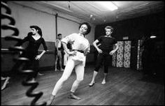 USA. New York City. 1955. James DEAN at a dance class given by Katherine DUNHAM,  also attending is singer Earther KITT.