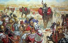 Carthaginian Noble cavalry prepare to take evasive action before stampeding elephants plough into their line. Opening stages of the battle of Zama.